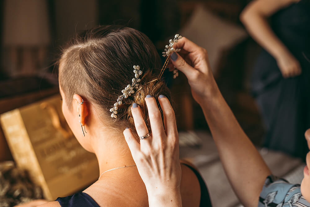 An English Country Tipi Wedding in North Cornwall Image 15 Hair pinned