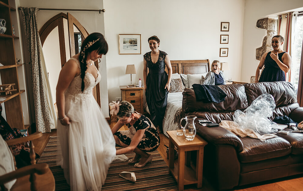 An English Country Tipi Wedding in North Cornwall Image 28 Bridesmaid Reaction