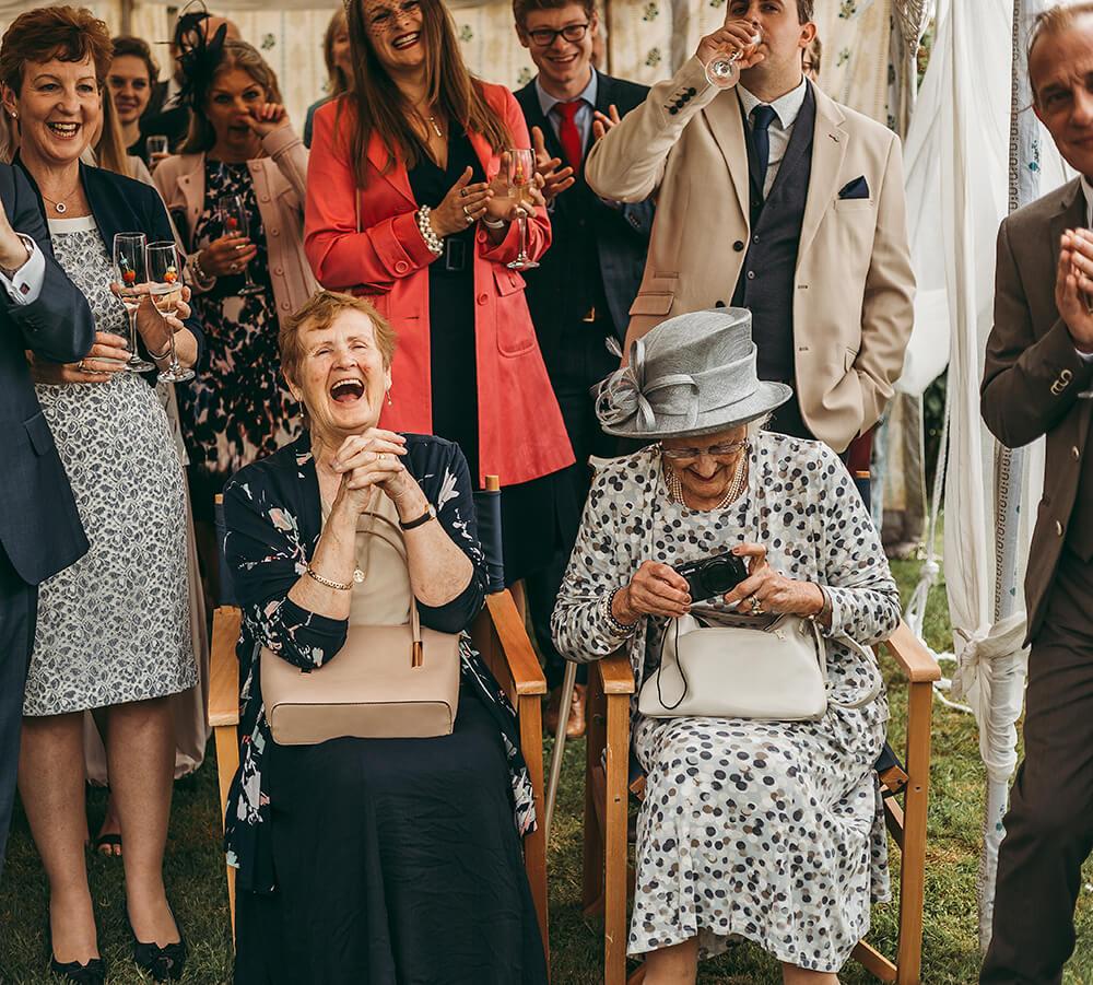 An English Country Tipi Wedding in North Cornwall Image 53 Grandmas reaction