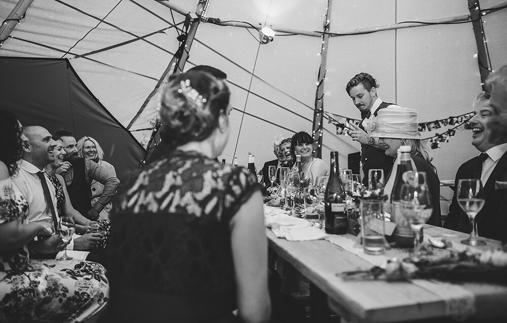 An English Country Tipi Wedding in North Cornwall Image 66 Groom Speech