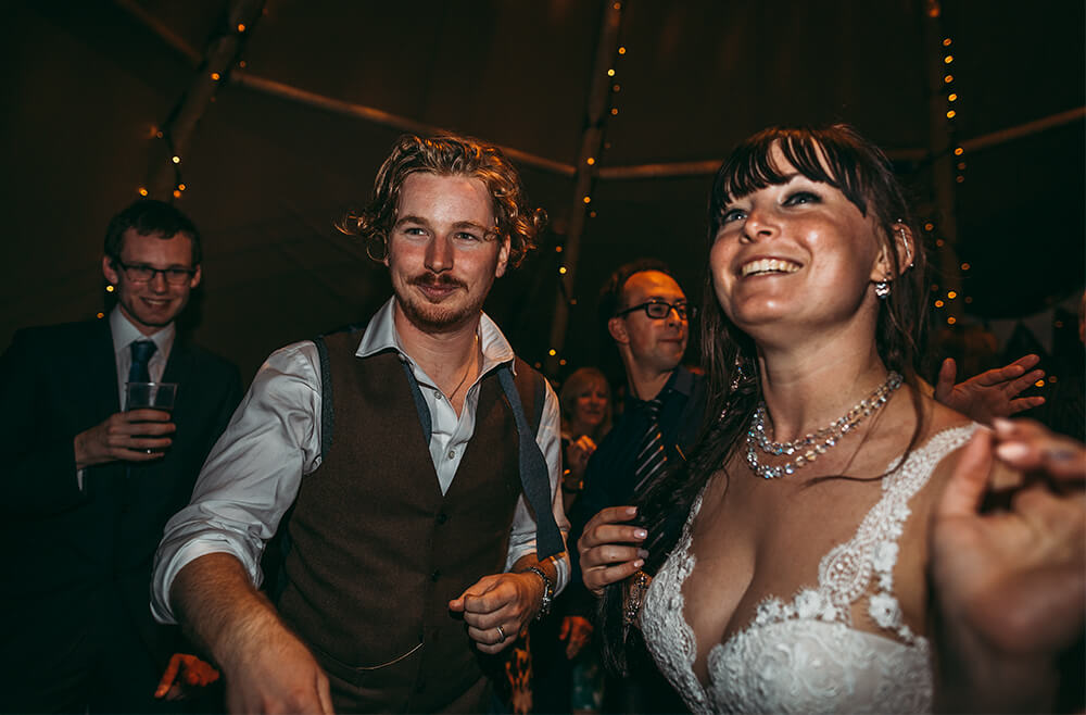 An English Country Tipi Wedding in North Cornwall Image 77 Bride and Groom evening do