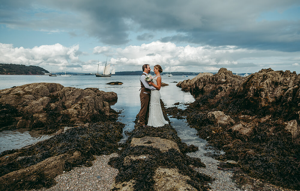 Preview shot from Meredith and Alex's wedding taken at Cawsand Bay