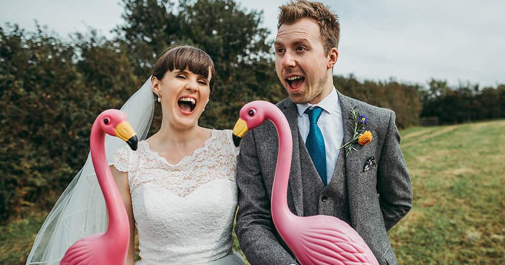 Chris & Isobel's flamingo farm wedding - A Preview
