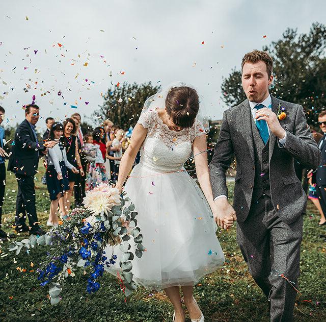 Chris & Isobel's flamingo farm wedding in Cornwall