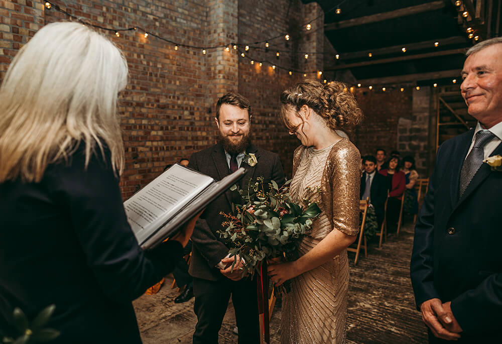 Sarah and Paul's rustic winter wedding at The Green in Cornwall - Image 13