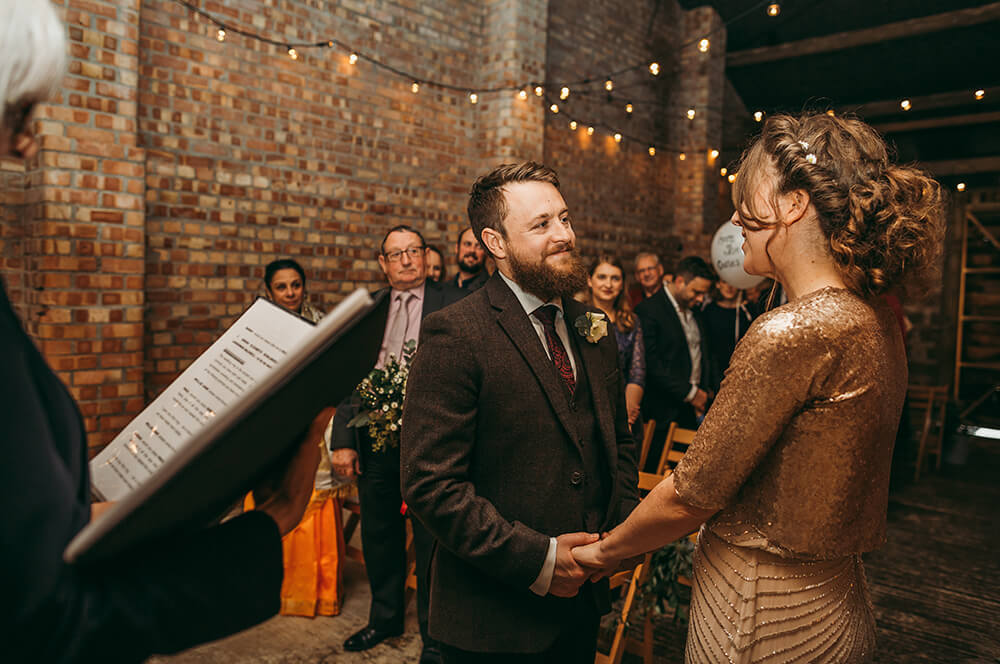 Sarah and Paul's rustic winter wedding at The Green in Cornwall - Image 15