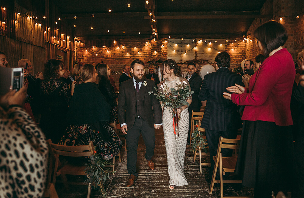 Sarah and Paul's rustic winter wedding at The Green in Cornwall - Image 17