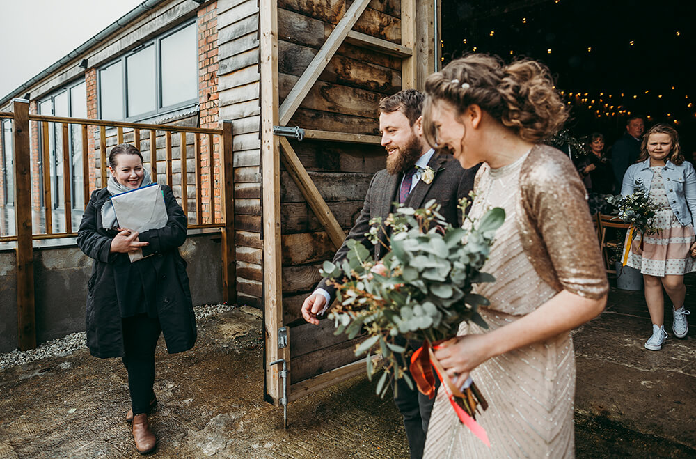 Sarah and Paul's rustic winter wedding at The Green in Cornwall - Image 18