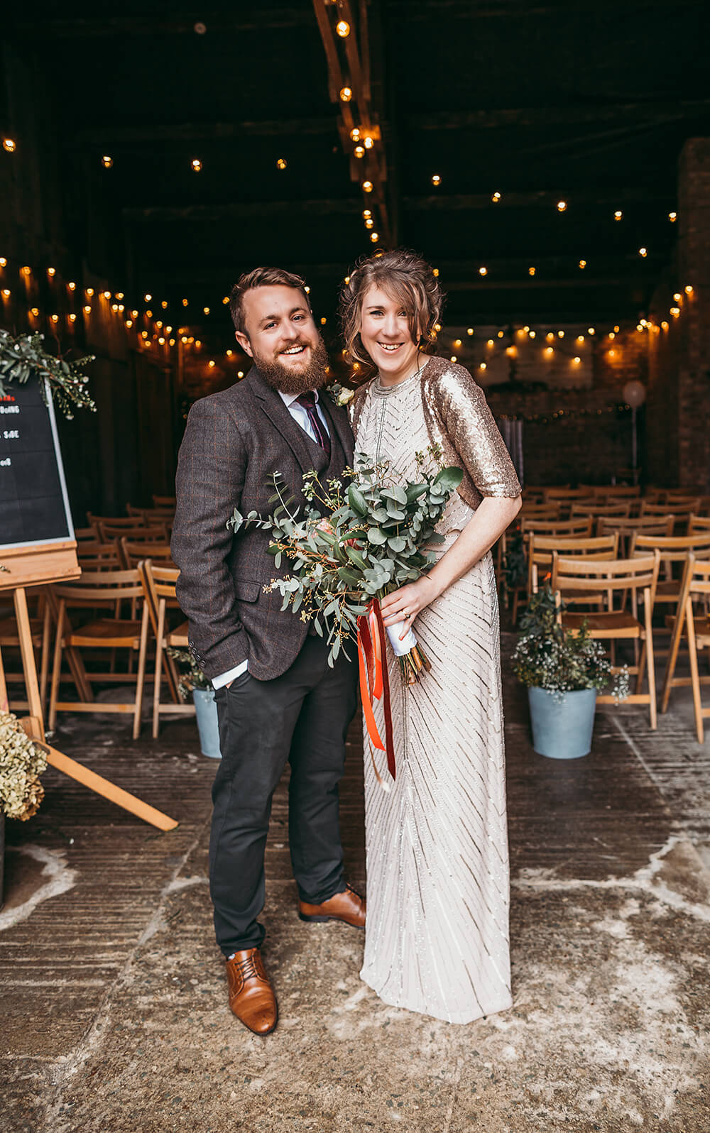 Sarah and Paul's rustic winter wedding at The Green in Cornwall - Image 34