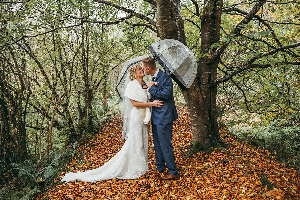 an autum wedding at the green in cornwall