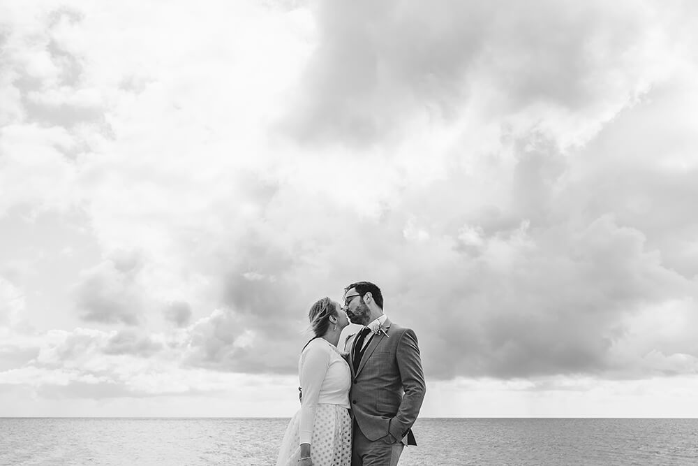 long rock beach wedding photos